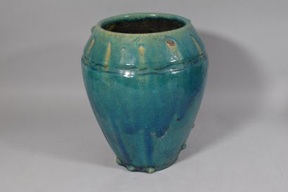 Turquoise glazed ceramic vase  H: 27 cm  Small accidents
