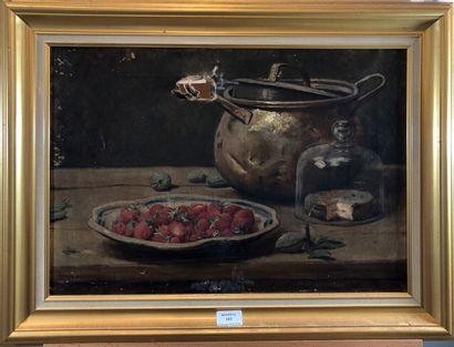 ECOLE XIXeme  Nature morte aux fraises de...