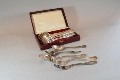 Lot de couverts en métal argenté comprenant :  - 6 fourchettes de table  - 6 cuillères...