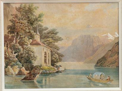 ÉCOLE SUISSE XIXe siècle,  La chapelle de...