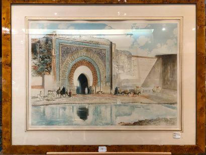 ROMBERG DE VAUCORBEIL Maurice (1861-1943)  Porte Bab Agnaou à Marrakech,  Eau-forte,...