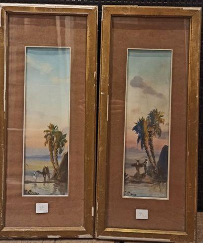 GIRARD Louis-Auguste (1896-1981)  Deux gouaches représentant des paysages orientaux...