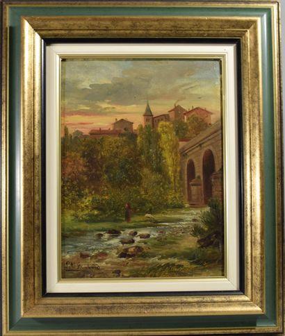 Louis Auguste LOMBARD (XIXeme siècle)  Bergère...