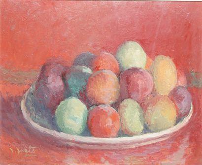 JOËTS Jules (1884-1959)  Assiette de fruits,...