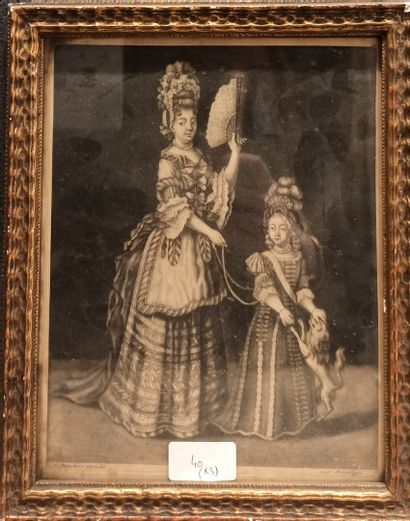 Pair of portraits of women in oval frames, pastel.  We join there:  - An engraving...