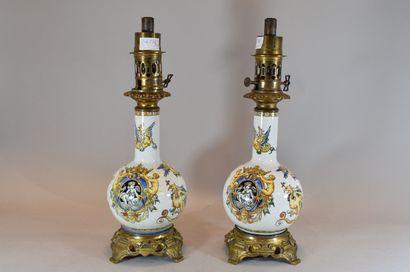 GIEN  Pair of oil lamps