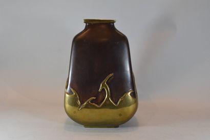 Vase à 2 patines, bronze brun et cuivre,...