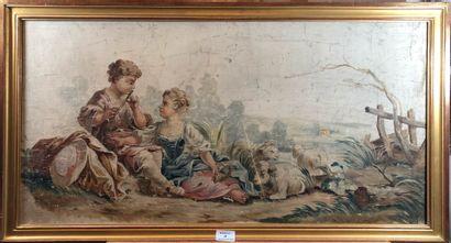 Projet de tapisserie représentant une scène...