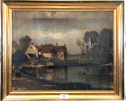 ECOLE XIXe siècle  Bord de rivière au pont...