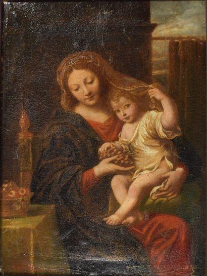 ECOLE FRANCAISE,  Vierge à l'enfant  Huile...