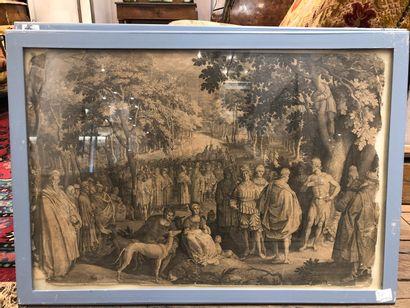 4 gravures représentant des scènes de la Bible marouflées sur toile  accidents  A...