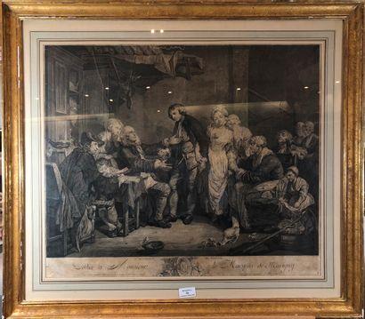 GREUZE Jean-Baptiste (1725-1805)  L'accordée...
