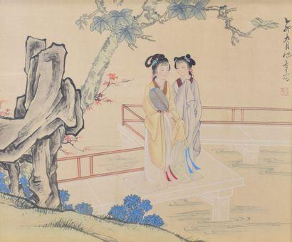 CHINE  Peinture sur soie représentant deux...