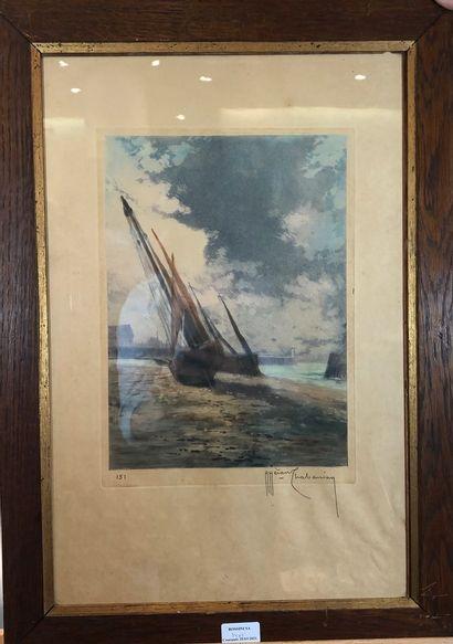 Lot comprenant:  - CHABANIAN Arsen (1864-1949)  Les voiliers  Lithographie, signée...