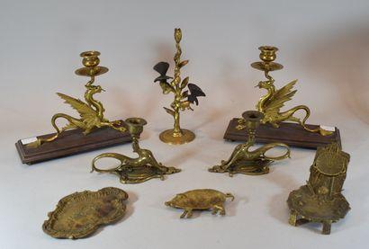 MANETTE de bronze et laiton: 2 paires de...