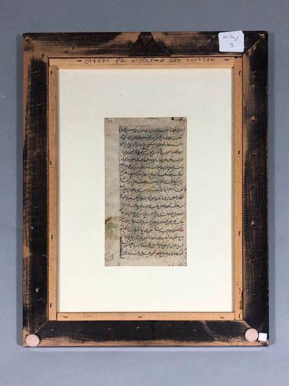 INDE, 1920/30,  Page de manuscrit perse enluminé,...