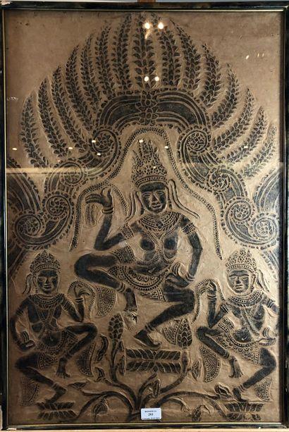 Parchemin à décor de divinités hindoues  H.:...