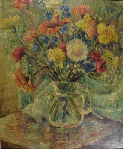 SEZOMU  Bouquet de fleurs  Huile sur toile....