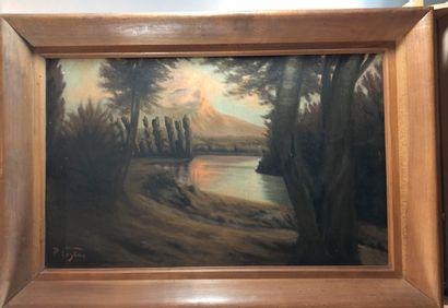 P. EUGENE:  - L'étang  Huile sur panneau,...