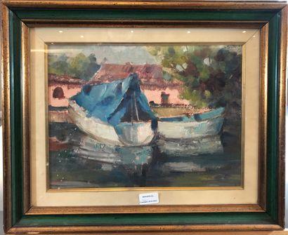 ÉCOLE MODERNE  Les barques  Huile sur toile  Signature illisible en bas à droite...