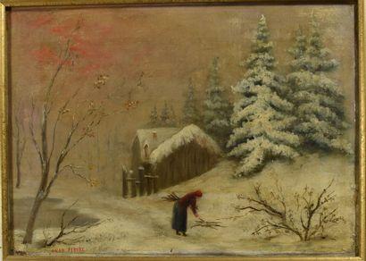 Anah FEBURE ?  Paysage d'hiver,  Huile sur...