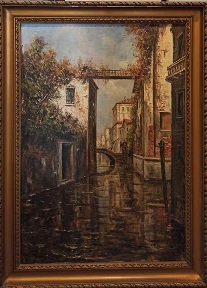 ECOLE MODERNE  Venise  Huile sur toile, signature...