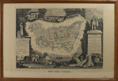 Une carte départementale des Vosges  H.:...