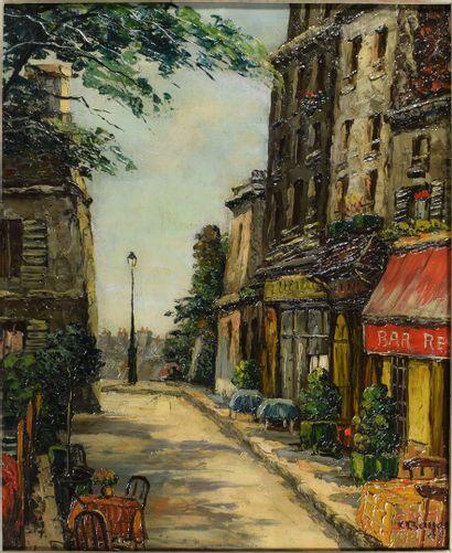 C. BAYER  Vue de Montmartre  Huile sur t...