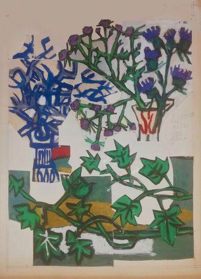 PARIS Gabriel  Gouache et collage sur papier....