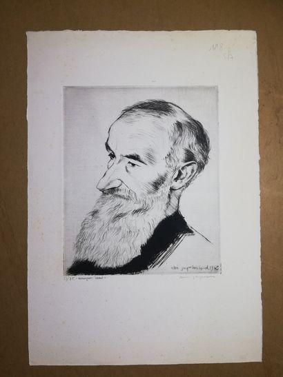 JACQUEMIN André  Portrait 1945  Gravure sur...