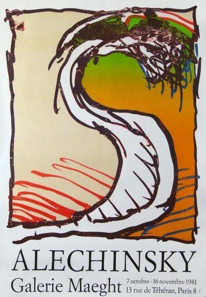 ALECHINSKY Pierre  Affiche originale  Réalisée pour une exposition Maeght 1981,...