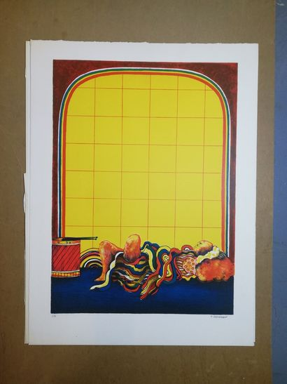 """ABRAHAMI Elie  Lithograph on paper. Signed lower right. Justified """"E.A.""""  65x50..."""