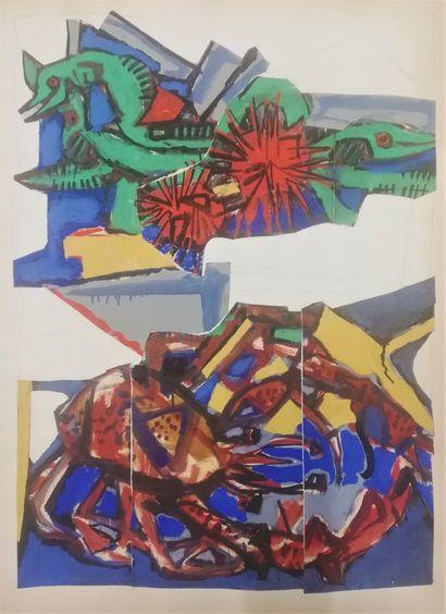 PARIS Gabriel  Huile, gouache et collage...