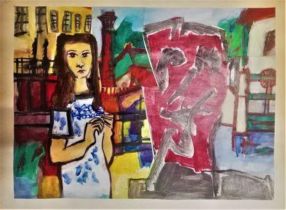 PARIS Gabriel  Gouache et collage sur papier.  76x56cm