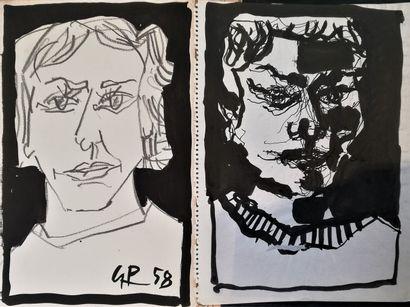 PARIS Gabriel  1958  2 encres et crayon sur...