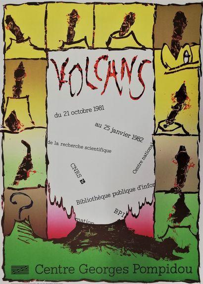 ALECHINSKY Pierre  Volcans Pompidou 1981  Affiche originale lithographie  70x50