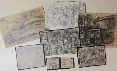 PARIS Gabriel  Lot de 7 dessins  Mine de...