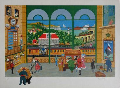 DELIEGE W.    Gare animée 1985  Lithographie...