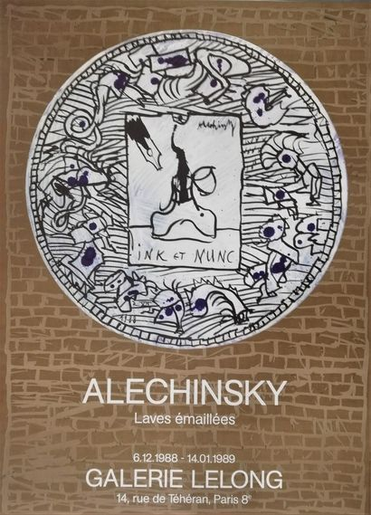 ALECHINSKY Pierre  Enamelled lava 1989  Original offset poster  75x54cm