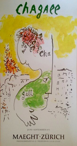 Marc CHAGALL  1971  Affiche originale offset....
