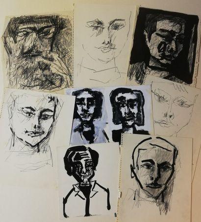 PARIS Gabriel  Lot de 8 dessins  Encre, crayon,...