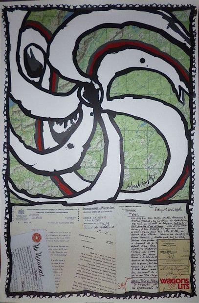 ALECHINSKY Pierre  Affiche originale 1989  Signature imprimée en bas à droite  Réalisée...