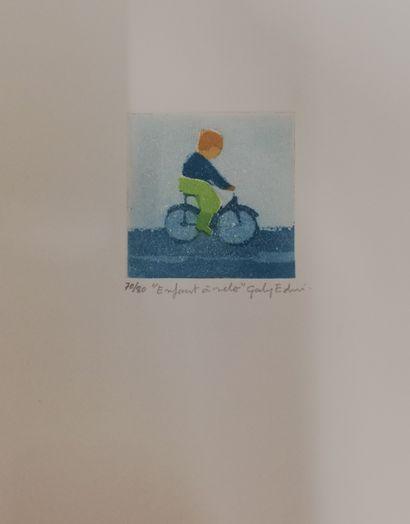 GABY-EDEN  Enfant à vélo  Gravure sur papier....