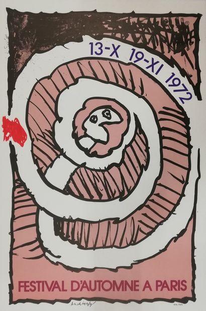 ALECHINSKY Pierre  Salon d'automne 1972  Affiche originale lithographie  60x40c...