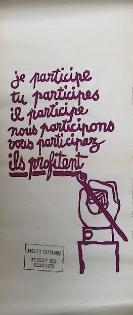Mai 68 affiche    Affiche originale imprimée en sérigraphie.  Format 76 x 30 cm...