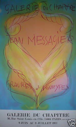 MESSAGIER Jean    1977  Affiche Originale en Lithographie  88 x 53 cm