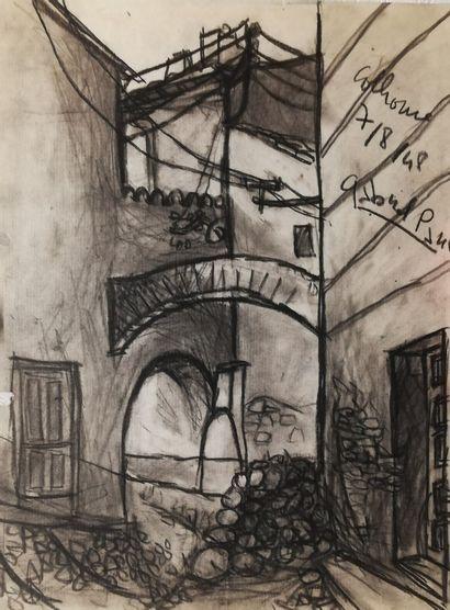 PARIS Gabriel  Colliour 1949  Fusain sur...