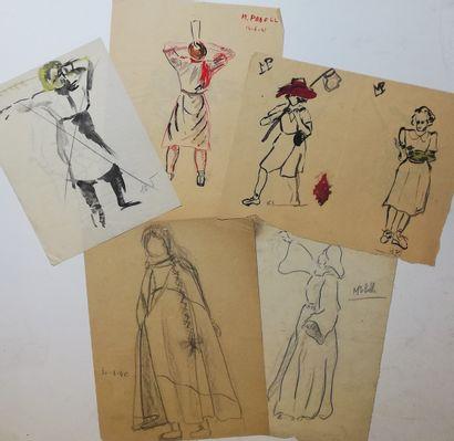 ANONYME circ. 1940/1941  Lot de 5 dessin au crayon, encre et gouache sur papier....