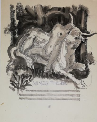 DECARIS Albert  Minos- Thésée  Encre et crayon...