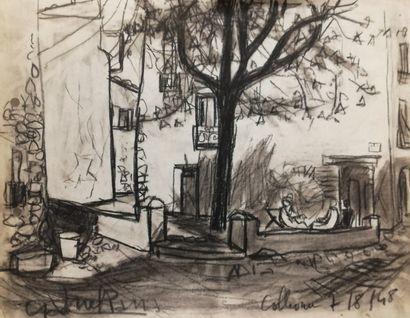 PARIS Gabriel  Colliour 1948  Fusain sur...